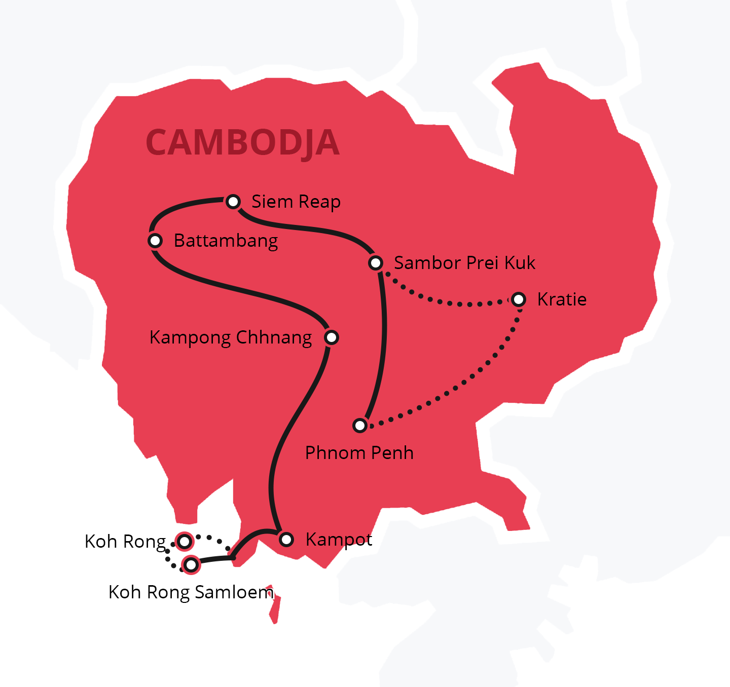 Reisroute Cambodja - Backpacken 2 tot 3 weken