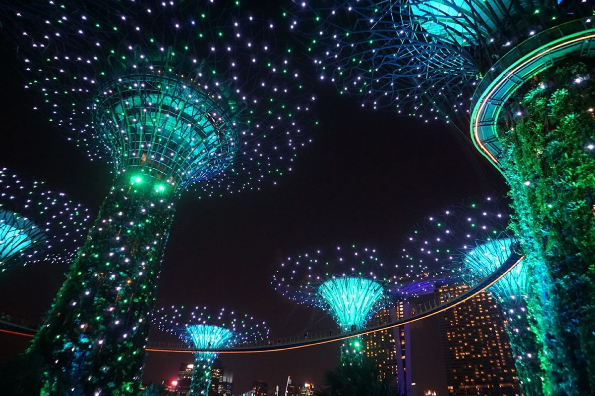 Lichtshow Supertrees - Gardens by the Bay - Singapore