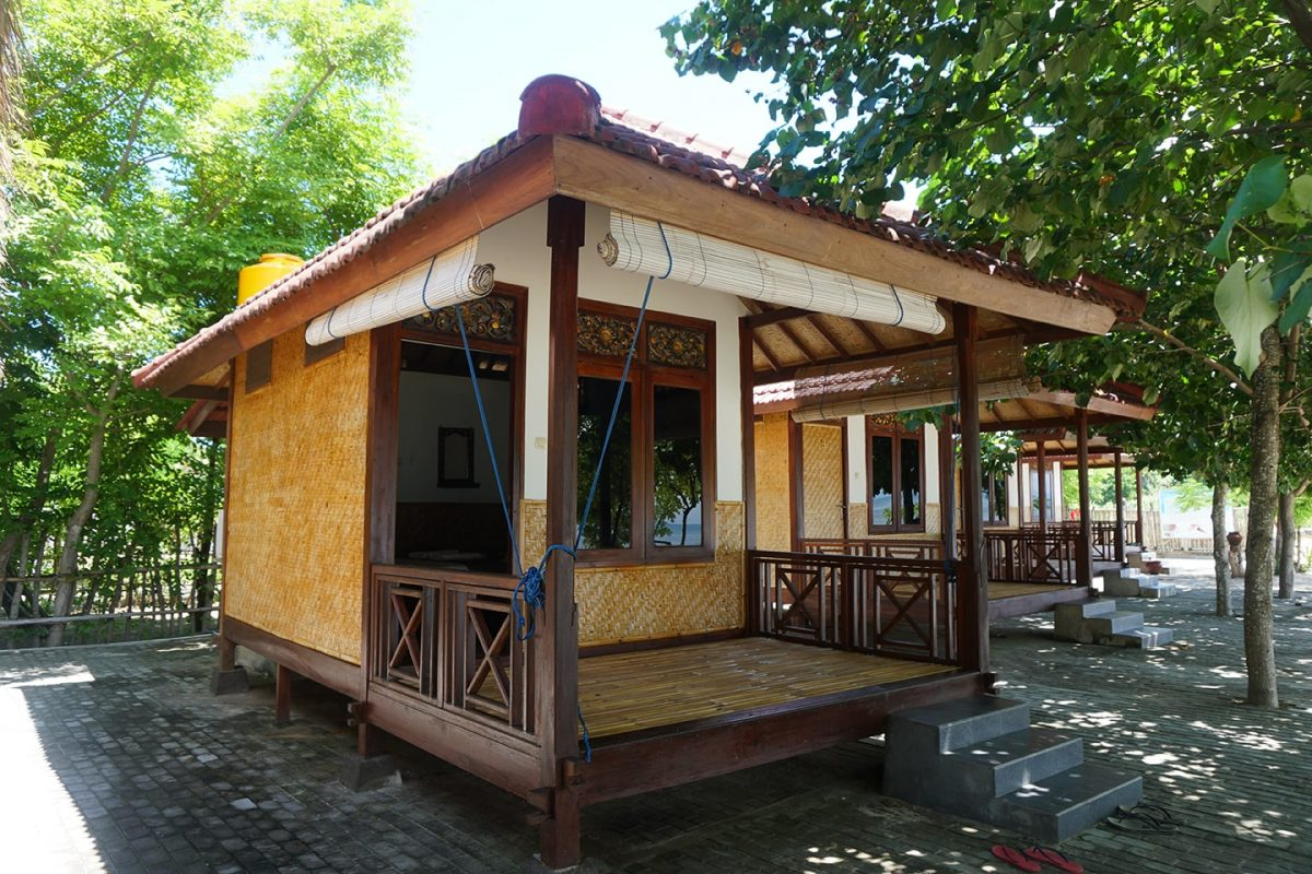 Een kleine bungalow op de Secret Gili's in Indonesië